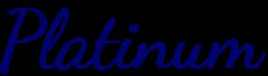 Platinum in Dark blue cursive